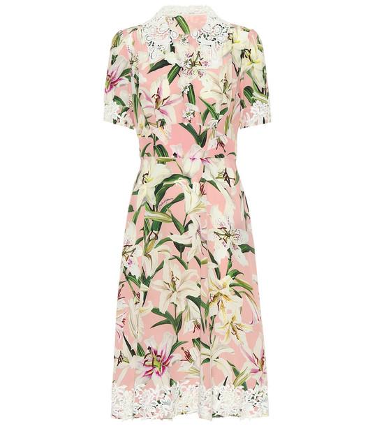 Dolce & Gabbana Floral cady midi dress in pink