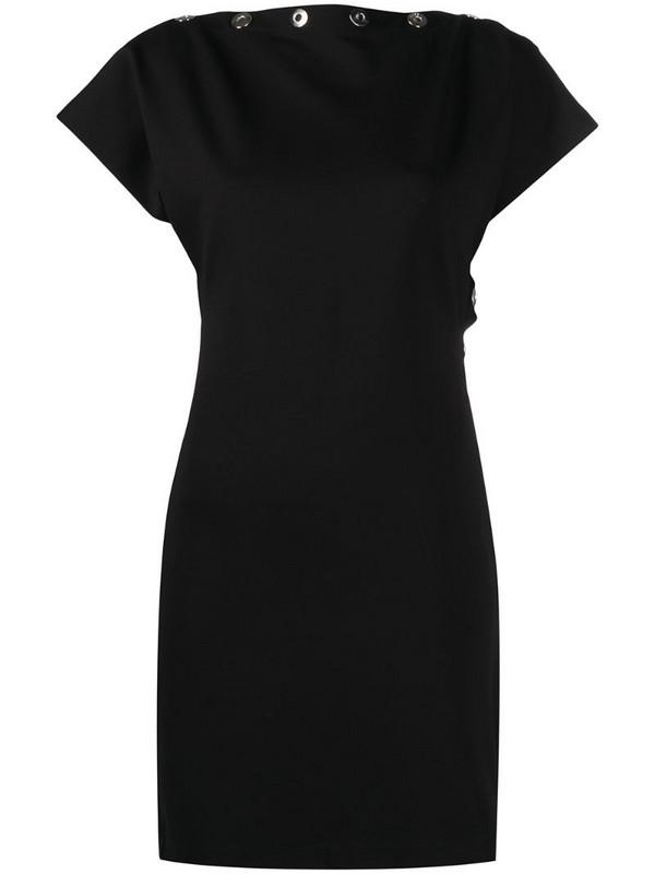Diesel snap-detailed short-sleeved fitted dress in black