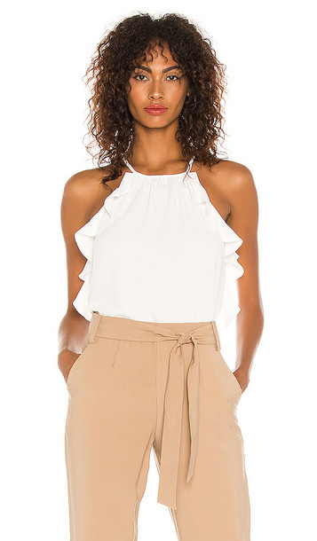 1. STATE High Neck Flounce Edge Blouse in White in ecru