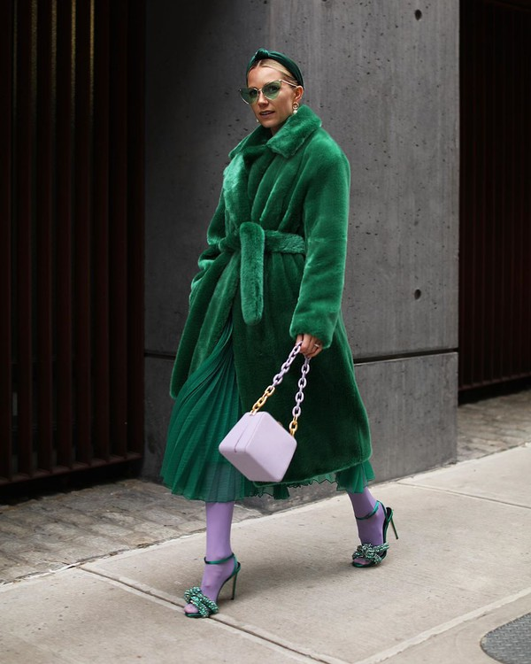 coat faux fur coat green coat oversized cardigan shoulder bag boxed bag tights sandals green skirt pleated skirt midi skirt headband