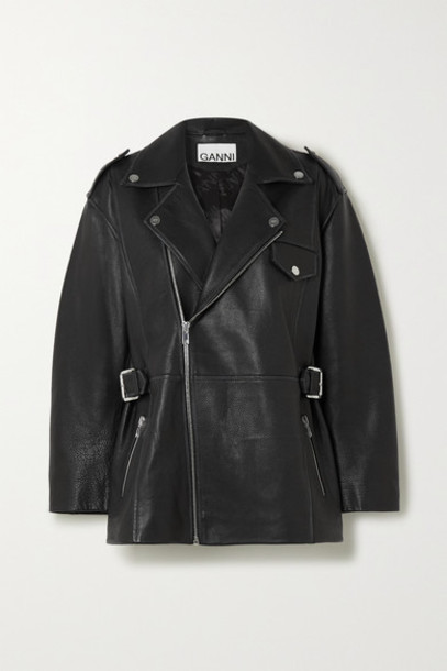 GANNI - Oversized Textured-leather Biker Jacket - Black