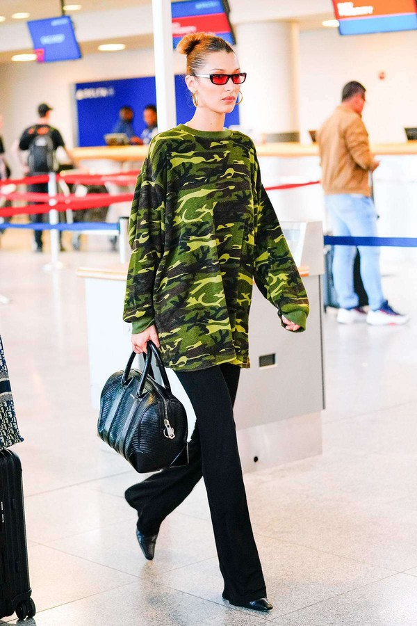 sunglasses bella hadid model off-duty pants camouflage sweatshirt celebrity