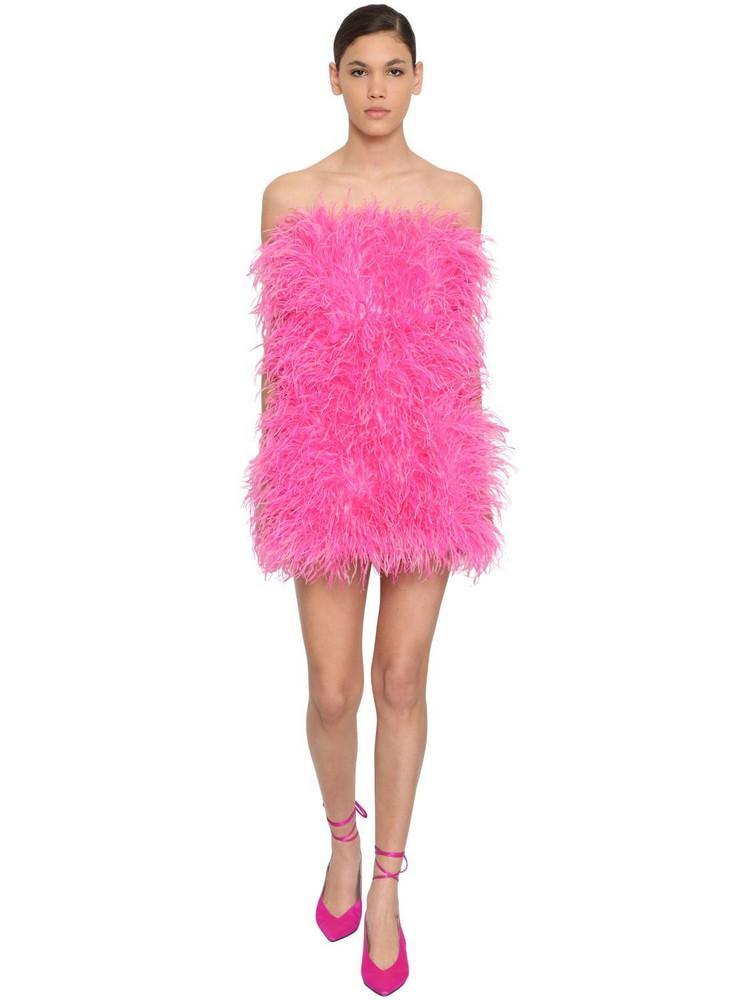 ATTICO Strapless Feather Embellished Mini Dress in fuchsia
