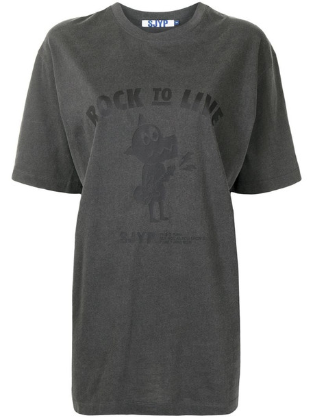 SJYP Rock To Live Dino cotton t-shirt in grey