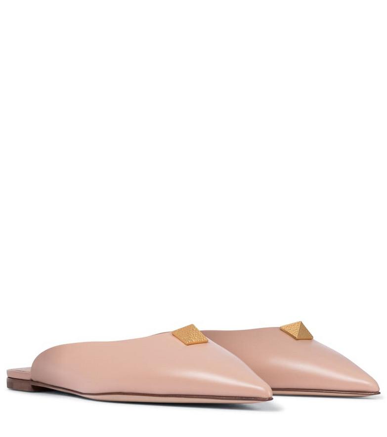 Valentino Garavani Roman Stud leather slippers in pink
