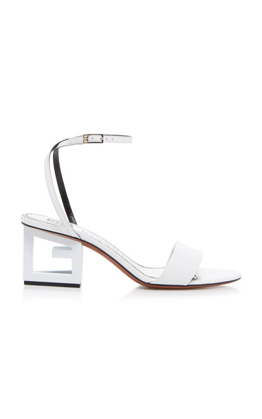 Givenchy Triangle Leather Sandals in white