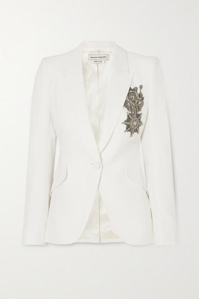 Alexander McQueen - Embellished Crepe Blazer - White