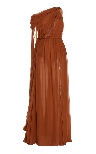 Dundas Draped Maxi Dress in brown