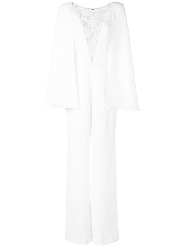 Tadashi Shoji lace-panelled cape jumpsuit in white