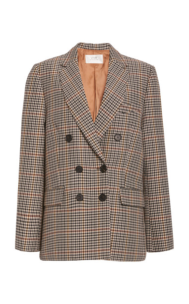 Victoria Victoria Beckham Checked Wool-Blend Double-Breasted Blazer in print