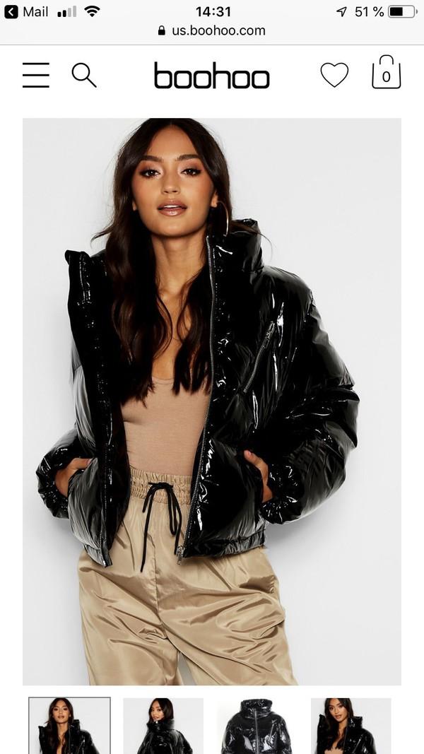 jacket black shiny vinyl