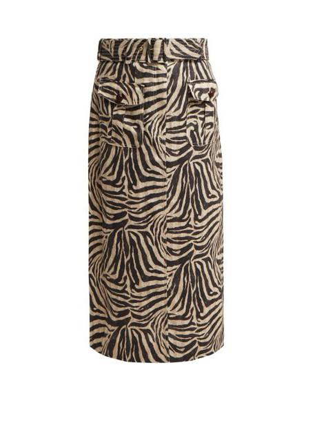 Zimmermann - Corsage Zebra Print Safari Midi Skirt - Womens - Animal