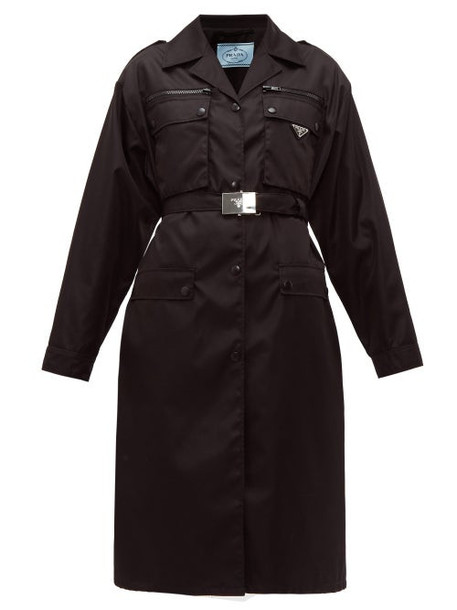 Prada - Belted Single Breasted Technical Sateen Coat - Womens - Black