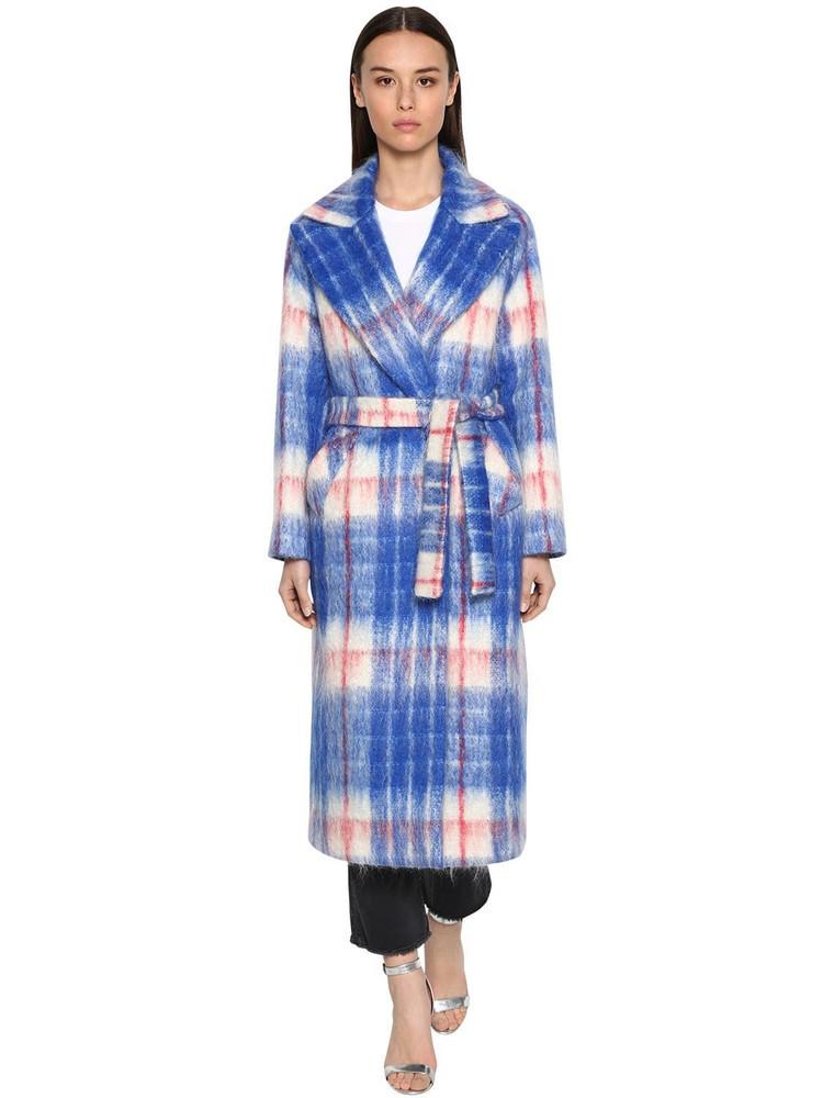 GIADA BENINCASA Long Checked Mohair Blend Coat in blue / red / white