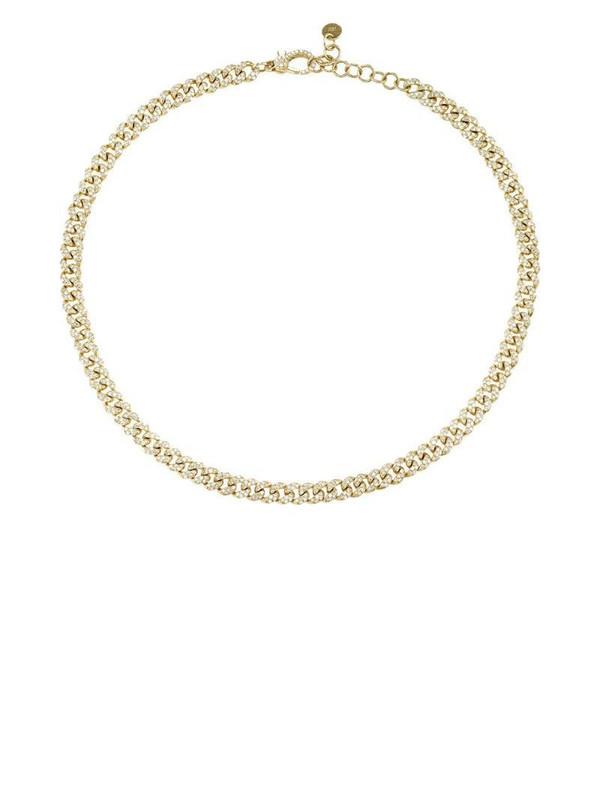 SHAY 18kt yellow gold pavé diamond curb chain choker