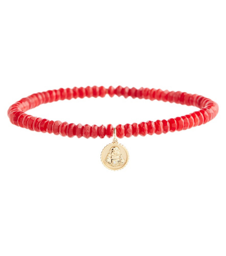 Sydney Evan Sitting Buddha 14kt gold bamboo coral bracelet with diamond in red