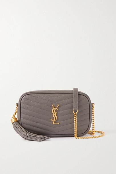 SAINT LAURENT - Lou Mini Quilted Textured-leather Shoulder Bag - Gray