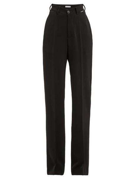 Balenciaga - High Rise Straight Leg Crepe Trousers - Womens - Black