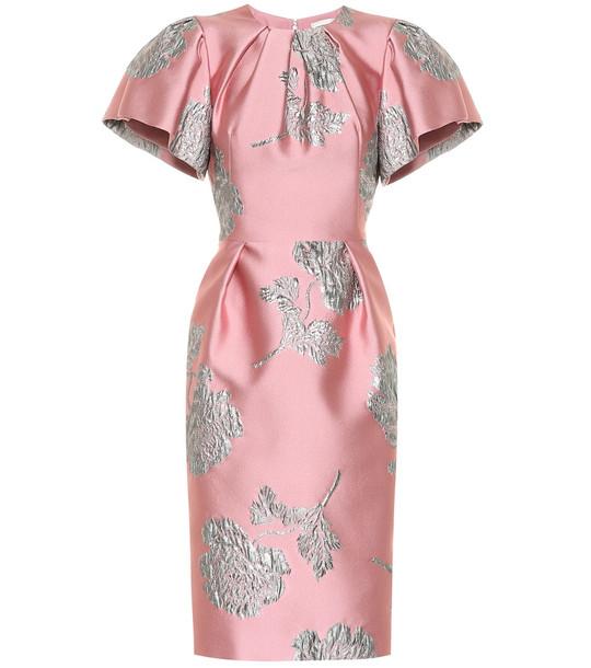 Alexander McQueen Floral brocade midi dress in pink
