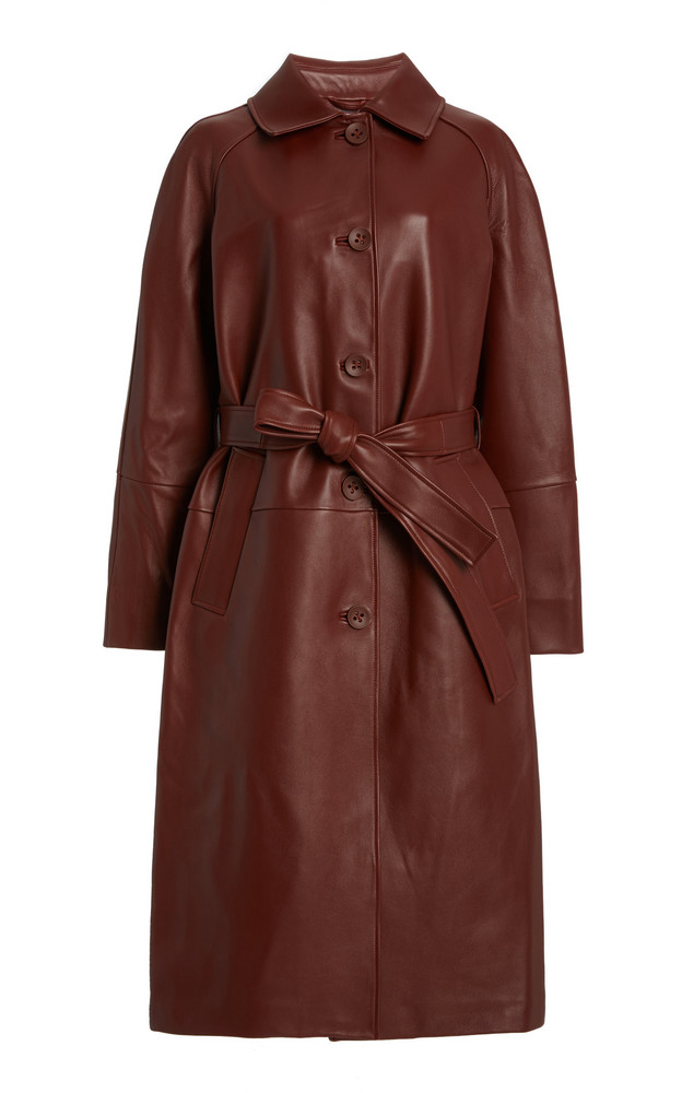 Common Leisure Slow Dance Leather Coat in brown