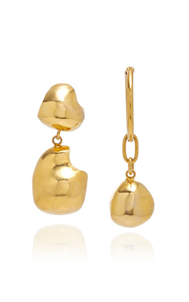 Mounser Boulder Mismatched Drop And Hoop Earrings in gold
