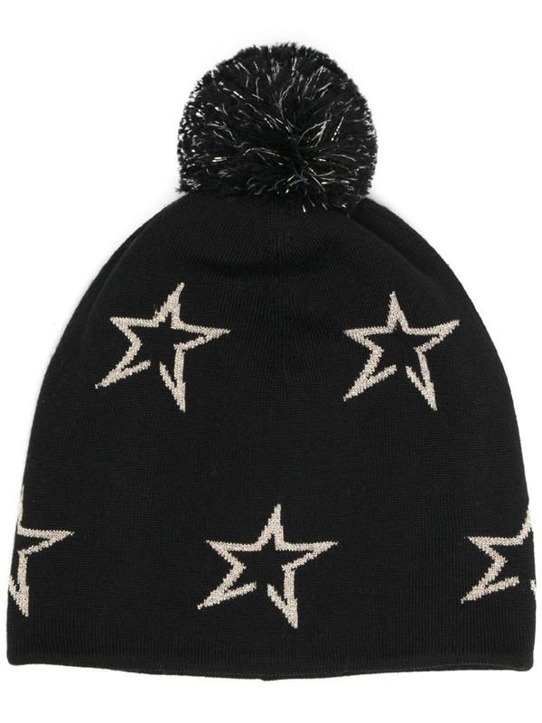 Perfect Moment star merino wool beanie in black