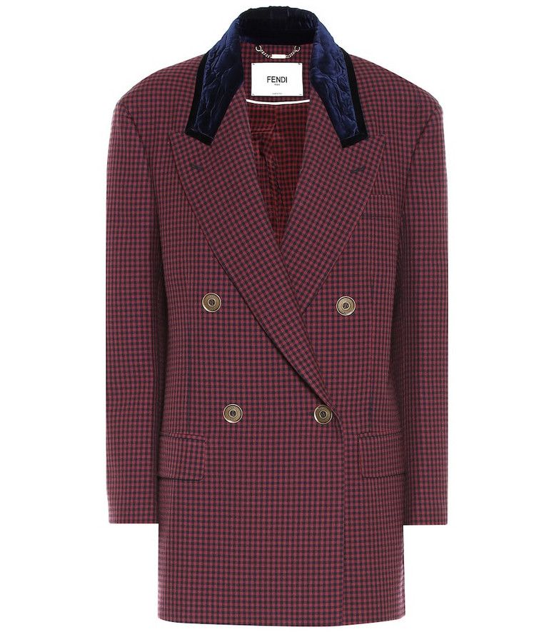Fendi Checked virgin wool blazer in red