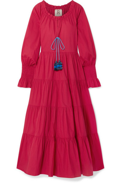 Figue - Bella Tiered Tasseled Cotton Maxi Dress in red