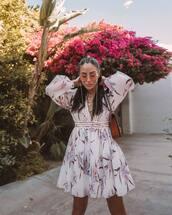 dress,mini dress,floral dress,long sleeve dress,v neck,zimmermann,shoulder bag,brown bag