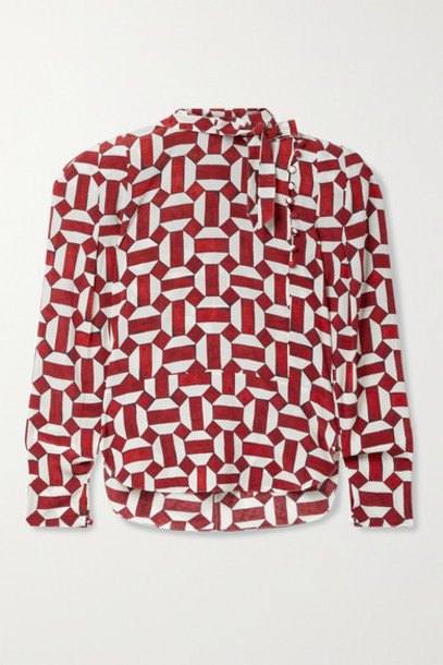 Isabel Marant - Artus Tie-neck Printed Stretch-silk Crepe Blouse - Red