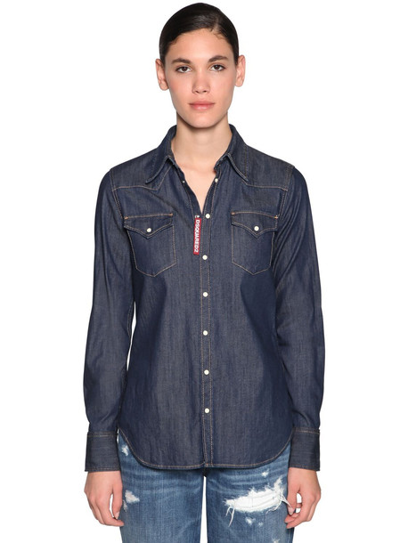 DSQUARED2 Stretch Cotton Denim Western Shirt in blue
