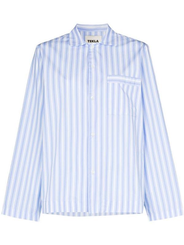 TEKLA striped organic cotton pyjama shirt in blue
