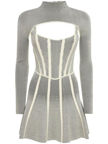 DION LEE Rib Knit Corset Midi Dress in grey / ivory
