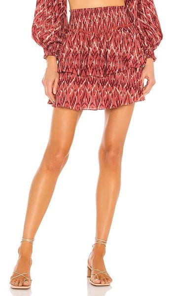MINKPINK Neiki Tiered Mini Skirt in Red in multi