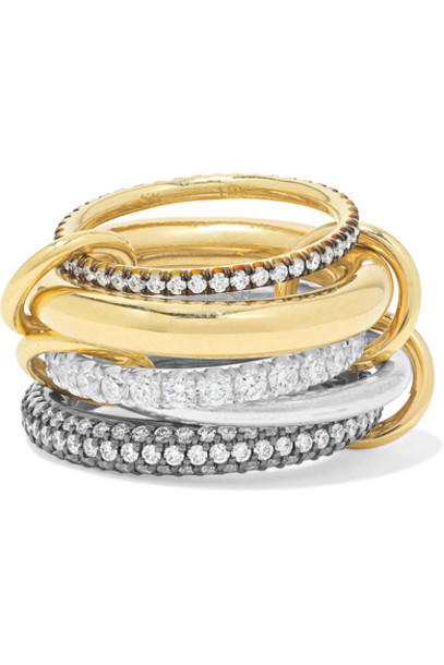 Spinelli Kilcollin - Leilani Set Of Five 18-karat Gold And Rhodium-plated Sterling Silver Diamond Rings