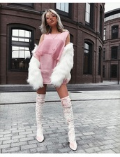shoes,pink,suede,dress,fur,white