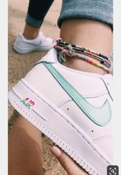 shoes,nike,nike shoes,nike air force 1,low top sneakers,cute,unique shoes,teal,pink,white,girly,sneakers,tennis shoes