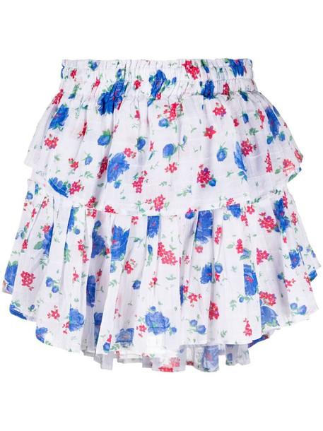 LoveShackFancy layered all-over floral print skirt in white
