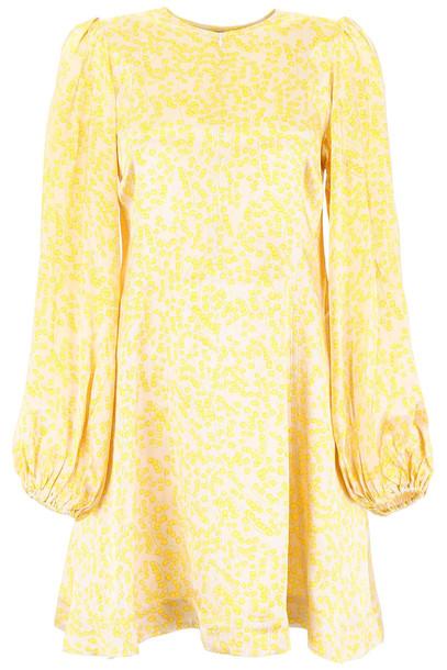 Ganni Printed Mini Dress in yellow