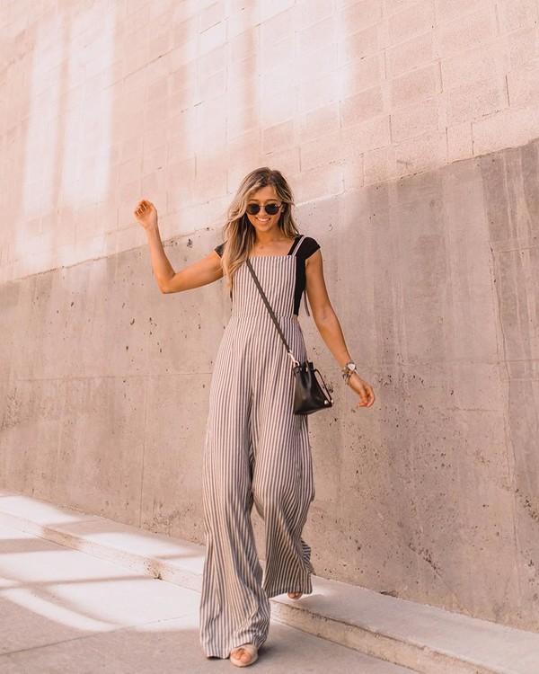 jumpsuit sleeveless stripes black bag black t-shirt sandals