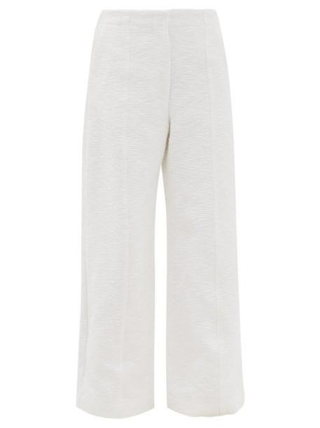 Raey - Wide-leg Cotton-blend Bouclé Trousers - Womens - White