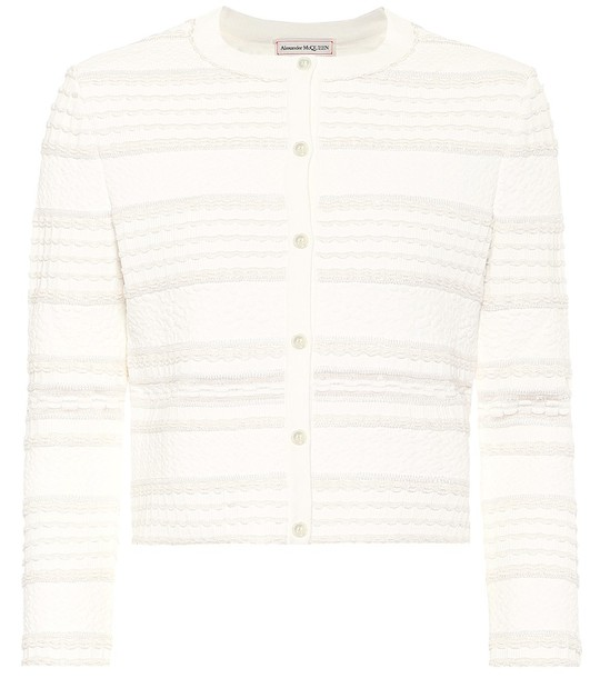 Alexander McQueen Cropped cardigan in white