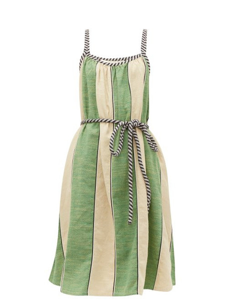 Ace & Jig - Noelle Striped Tie Waist Cotton Dress - Womens - Green