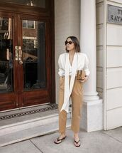 top,white blouse,high waisted pants,slippers,handbag