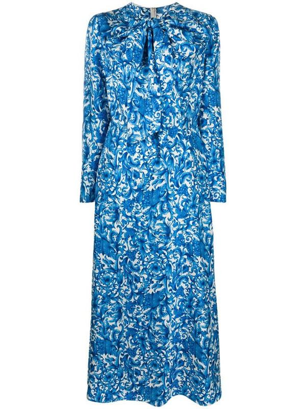 Valentino printed twill dress in blue