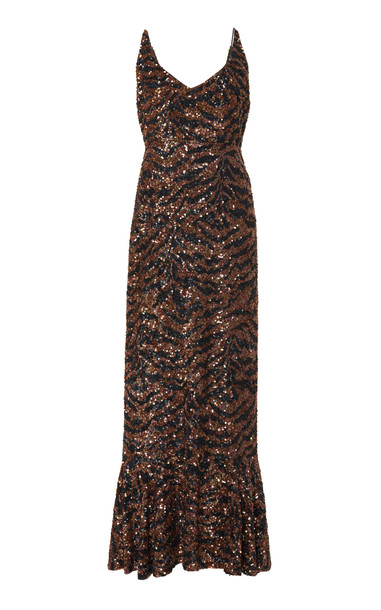 Saloni Aidan D Silk Tiger Fitted Maxi Dress in brown