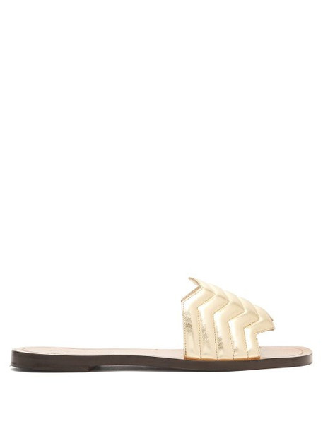 Nicholas Kirkwood - Chevron Quilted Leather Slides - Womens - Light Gold