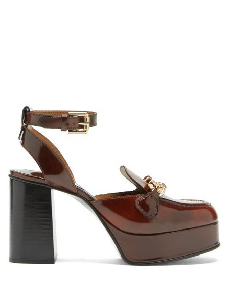 See By Chloé See By Chloé - Mahe Curb-chain Leather Platform Loafers - Womens - Burgundy