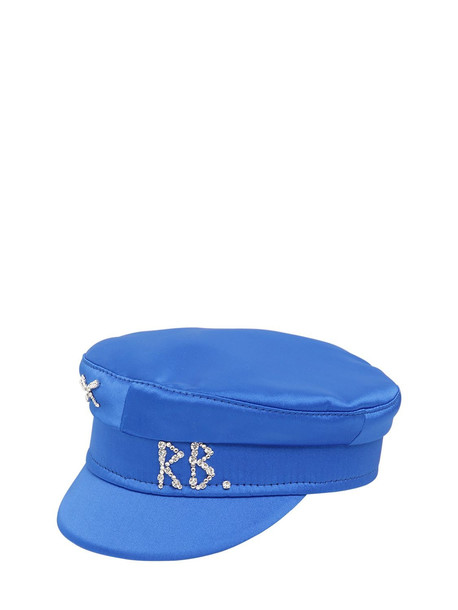 RUSLAN BAGINSKIY Baker Boy Satin Hat W/crystals in blue