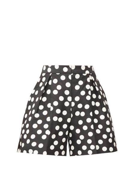 Carolina Herrera - High-rise Pleated Polka-dot Twill Shorts - Womens - Black White